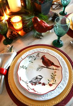 Christmas Home Tour 2013- Red Bird Tablescape- Sondra Lyn at Home