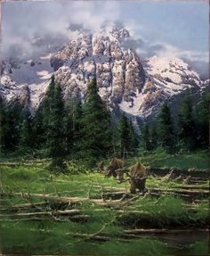 Bruce Cheever (1958–Present), Summer Moose, Valley of the Tetons, oil on board, 28 x 23 in, JHAA 2013 Sold: $6,435