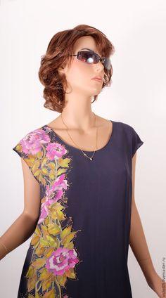 Купить ЭЛИЗА платье - ручная роспись батик - Батик, авторская одежда, одежда, туника, принт