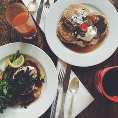 Oakhurst Inn Cafe and Espresso Bar - Charlottesville, VA, United States. Carrot-ginger juice, buckwheat pancakes, organic coffee, and eggs meurette. All excellent, esp the eggs!