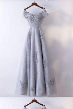 f418f9b17daa Silver Evening Dresses, Modest Prom Dress, A-Line Prom Dress, Prom Dress