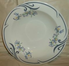 "Contours Flourish By Arita 10"" Serving Bowl Purple Iris Japan EUC #ContoursFlourishByArita"