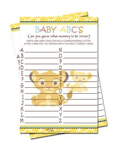 Simba Lion King Baby ABCu0027S Game   Baby Shower Games $3.99