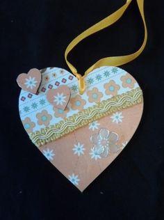 10 cm decorated hanging heart (orange) £4.00