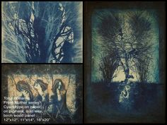 """From my """"Mother"""" series - cyanotype monoprints on paper, with oil pigment and cold wax layers, mounted and ready to hang on birch wood and canvas panels. Cyanotype, Design Development, Art Images, Birch, Custom Design, Wax, Layers, Cold, Sculpture"""