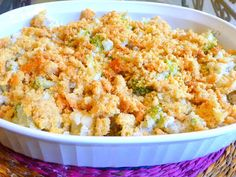 SPLENDID LOW-CARBING BY JENNIFER ELOFF: CREAMY BROCCOLI CAULIFLOWER CASSEROLE WITH PARMESAN CRUMB TOPPING