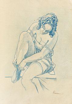 Intimatate   -  Camil Ressu  Romanian, 1880-1962  Colour pencil, 33 x 23 cm. (13 x 9.1 in.)