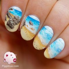 PiggieLuv: Guest post for Lucy's Stash! Beach landscape nail art
