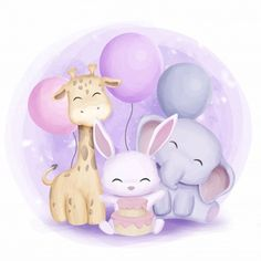 Giraffe Rabbit And Elephant Celebrate Birthday, Adorable, Animal, Art PNG and Vector with Transparen Happy Birthday Funny, Happy Birthday Greetings, Funny Happy, Scrapbooking Image, Kunst Party, Baby Animals, Cute Animals, Baby Elephants, Wild Animals