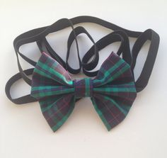 Dark Navy/Green with Red Pinstripes Tartan Headbow on Black Elastic by AvasAccessories1 on Etsy