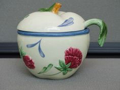 Lenox Poppies on Blue Jelly/Jam jar with spoon Apple shape #Lenox
