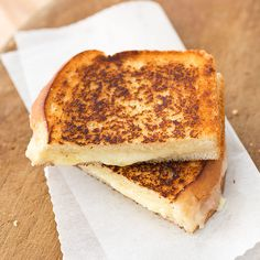 Adult Grilled Cheese from America's Test Kitchen - Aged Vermont Cheddar and Brie browned with a Dijon Butter