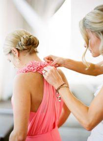 Beautiful Pink / Coral bridesmaids dress | Style Me Pretty