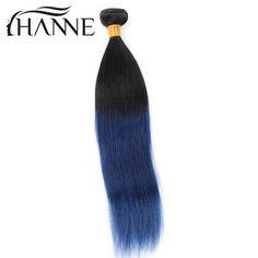 Straight Peruvian dark roots blue human hair 1 bunlde remy hair blue ombre weave 2 tone ombre blue bundles HANNE Colorful Hair