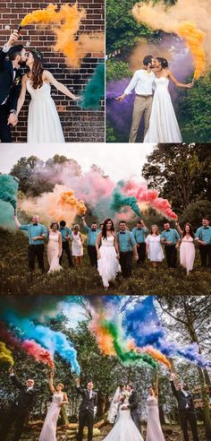 50 + Cool & Colorful Smoke Bomb Wedding Inspirations You Will Love, , Top 4 cool and colored smoke bombs hottest wedding trends special effect for your wedding trends smoke bombs wedding smoke s. Wedding Ceremony Ideas, Wedding Trends, Fall Wedding, Wedding Photos, Dream Wedding, Wedding Send Off, Color Smoke Bomb, Colored Smoke, Bride Photography