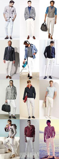 Men's Summer Essentials: White Legwear - Trousers/Chinos Lookbook Inspiration