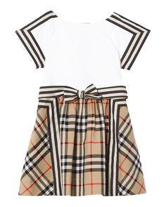 Burberry Rhonda Cotton Dress, Size 12M-2 | Neiman Marcus Little Girl Outfits, Toddler Outfits, Kids Outfits, Burberry Outfit, Burberry Kids, Designer Childrenswear, Baby Dress Design, Designer Baby Clothes, Stripe Skirt