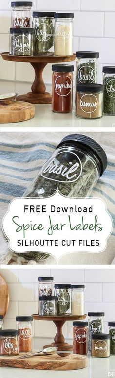 Free Silhouette cut files for unique Spice Jar Labels. Each spice is created in a custom logo design.