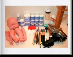Supplies and doll parts needed for making the reborn doll. (reborning HOWTOs)