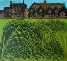 "Robert Tavener ""Cottages and Reeds"" linocut print. Jude's Gallery - Itteringham, North Norfolk - specialising in British printmaking) Landscape Prints, Landscape Art, Landscape Illustration, Illustration Art, Wood Engraving, Linocut Prints, Print Artist, Illustrations Posters, Printmaking"