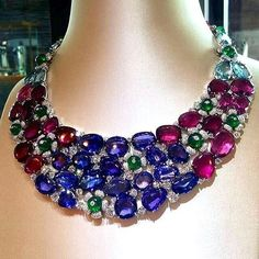 Bulgari ruby, diamond, sapphire and emerald necklace