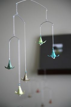 Floating Lily Hanging Mobile: To be viewed from below or at eye level. Perfect for a nursery.