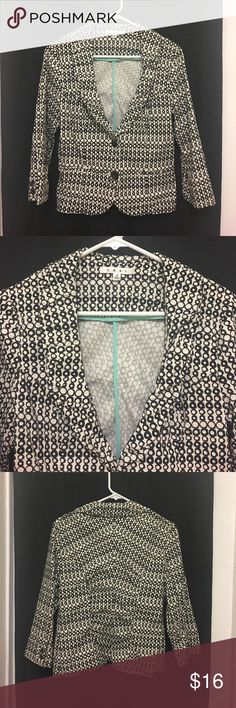 CAbi Jacket Love this CAbi Jacket! Size 4 (may fit larger measures approximately 17 inches armpit to armpit lying flat). Black and cream colored print. 3/4 length sleeves with 2 faux front pockets and 2 button closure. 98% Cotton/2% Spandex. In good preowned condition. Please ask all questions prior to making an offer or purchase. Thanks for stopping by my closet! CAbi Jackets & Coats Blazers