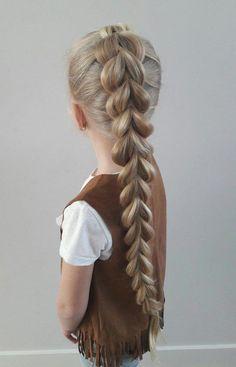 French Pull-Through Braid tutorial - Shopaholiek Cute Hairstyles For Kids, Flower Girl Hairstyles, Creative Hairstyles, Little Girl Hairstyles, Braided Hairstyles, Dutch Braid Half Up, Dutch Pigtail Braids, Braids Step By Step, Pull Through Braid