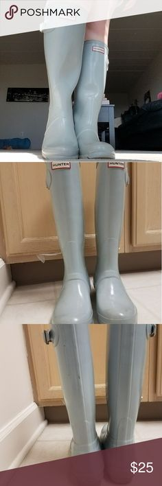 Hunter Rain Boots Light blue high quality Hunter rainboots. I bought like new from someone and used them for a year. Now I don't need them as I have a car and no longer need to walk far in the rain! Keeps feet 100% dry. Don't wear without long pants or knee high socks like I did in the picture, they will suction to your legs. They run big (these are size 7) so I'm listing them under size 8. Minor scuffs on the back you can see and a little wear on one boot's tread. Hunter Boots Shoes Winter…