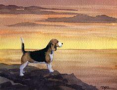 BEAGLE SUNSET Dog Watercolor Signed Fine Art Print by k9artgallery, $12.50