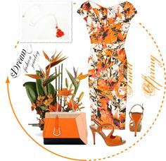 """""""Dream Fashion Jewelry Collection - Smell Of Spring - Orange"""" by dreamfashionjewelry on Polyvore"""