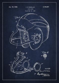 Vintage Football Helment Patent Drawing From 1935 by Aged Pixel - Royalty Free and Rights Managed Licenses Football Nursery, Football Rooms, School Football, Alabama Football, American Football, Vintage Drawing, Vintage Wall Art, Vintage Walls, Boys Room Decor