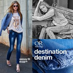 DESTINATION DENIM:  Discover this season's most flattering, fit, must-have washes and styling tips.  Shop this story in-store and online now at MRP.com Skinny Fit, Styling Tips, Style Icons, Must Haves, Winter Fashion, Seasons, Denim, Store, Fitness