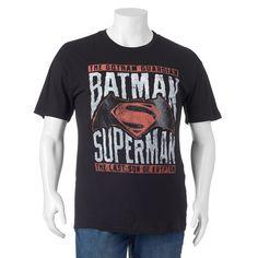 Big & Tall DC Comics Batman vs. Superman Tee, Black