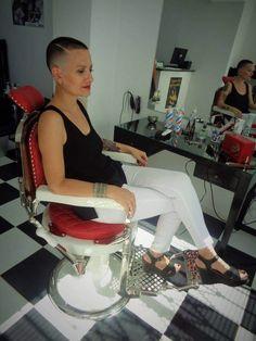 She just got a really good haircut from s highly skilled barber:) Short Sassy Hair, Very Short Hair, Short Hair Cuts, Short Hair Styles, Short Pixie, Girls Short Haircuts, Really Short Haircuts, Pixie Haircuts, Hair Barber