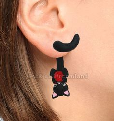 Black Cat with yarn Clinging Tail Earrings