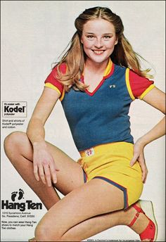 Hang Ten shorts!  I think the model is Robin Mattson, who played Hope Bauer on Guiding Light (back in the day)