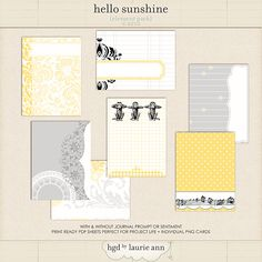 The Lilypad :: Journal Cards :: Hello Sunshine Journal Cards by Laurie Ann {element pack} Hello Sunshine, You Are My Sunshine, Journal Prompts, Journal Cards, Digital Project Life, It Goes Like This, Layout Inspiration, Smash Book, Bellisima