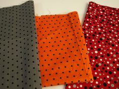 """Grey with black polka dots: 28"""" x 9"""". Red with white, grey and black polka dots: 22"""" x 9"""". Orange with black polka dots: 26"""" x 13"""". Lightweight cotton-like fabric. They have not been laundered.On many pieces I do not know the manufacturer or the exact blend, but if known, I will provide that information. 