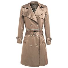Celltronic Womens Fashion Turn Down Collar Double Breasted Long Trench Coats OuterwearKhakiXXL *** Click image for more details. (Note:Amazon affiliate link)