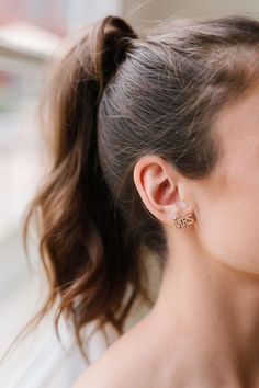 The perfect gift for any bride to be. The MRS Pave Studs by Untamed Petals Boho Wedding Hair, Wedding Hair And Makeup, Hair Makeup, Bridal Earrings, Bridal Jewelry, Stud Earrings, Sassy Hair, Hair Flip, Diamonds And Gold