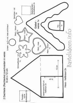 Christmas craft with felt - Free Craft Template - Gingerbread House Christmas Sewing, Christmas Projects, Holiday Crafts, Christmas Crafts, Christmas Applique, Christmas Houses, Xmas, Christmas Holidays, Felt Christmas Decorations