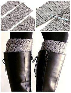 Free Pattern. Get The Cute Chunky Sock Look, Without Having The Bulk In Your Boots. Crochet These Easy Reversible Boot Cuffs. - Click for More...