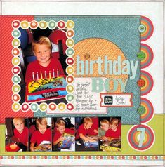 Example of a layout using My Mind's Eye Alphabet Soup Boy papers. Layout courtesy of My Mind's Eye (not for sale). Birthday Scrapbook Layouts, Kids Scrapbook, Scrapbook Sketches, Scrapbook Page Layouts, Scrapbook Albums, Scrapbook Supplies, Scrapbook Cards, Scrapbooking Ideas, Picture Scrapbook