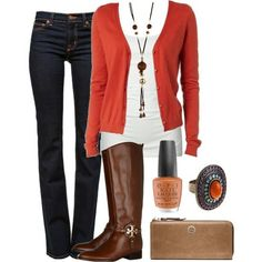 I like the cardigan and the boots, but not the jewelry or the clutch