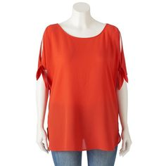 Juniors' Plus Size HeartSoul Tie-Sleeve Tunic, Drk Orange