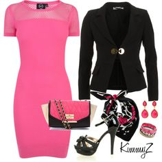 9-5 by zuckie1 on Polyvore featuring polyvore, fashion, style, McQ by Alexander McQueen, Versace, Iosselliani, Amrita Singh, Precis Petite, clothing and hot pink