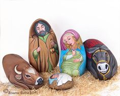 #painted rocks, Nativity on rocks -  check out the others [These are the loveliest painted rocks I've seen. ;) Mo]