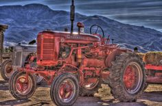 Antique Red Tractor HDR by kf7mxe