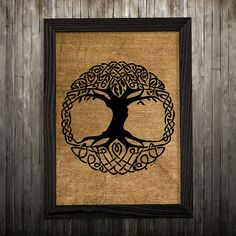 Celtic knot print. Celtic poster. Tree decor. Burlap print.  PLEASE NOTE: this is not actual burlap, this is an art print, the image is printed on